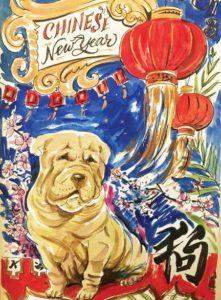 pug, Chinese, lantern, new year