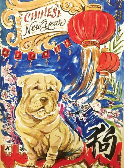 pug, Chinese, lantern, new year