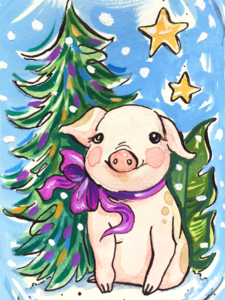 cute pig with christmas tree
