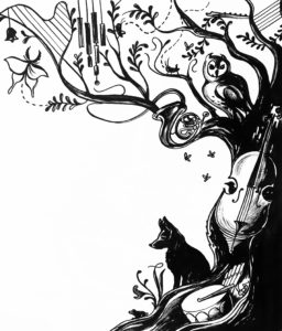 Large tree silhouette with animals and musical instruments