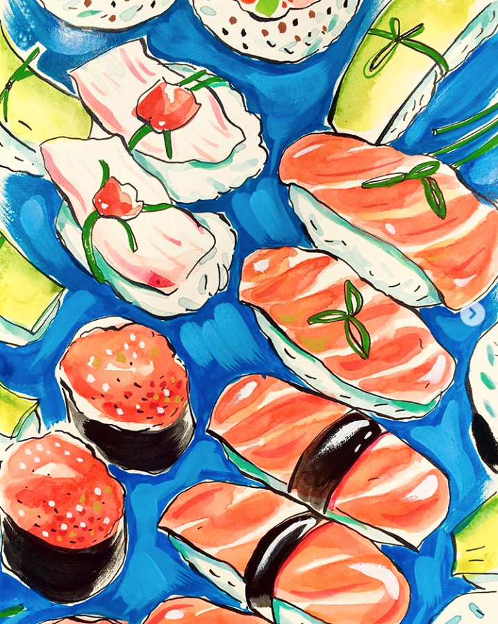 Closeup of sushi